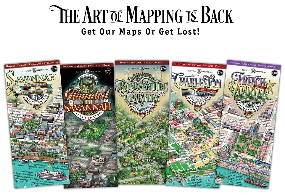 Savannah Map Haunted Savannah Map Bonaventure Cemetery Map Charleston Map New Orleans French Quarter Map