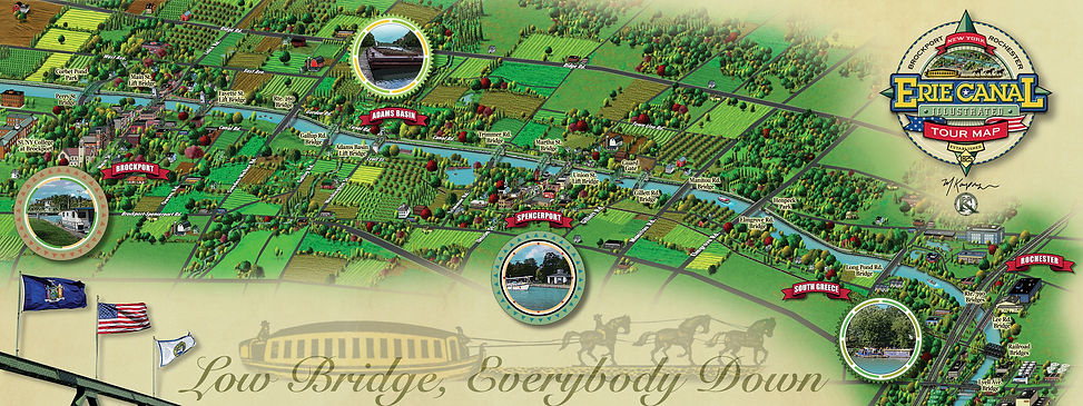 Brockport to Rochester illustrated Canal map