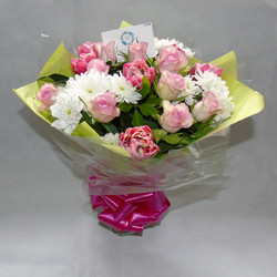 Pink and white seasonal hand tied