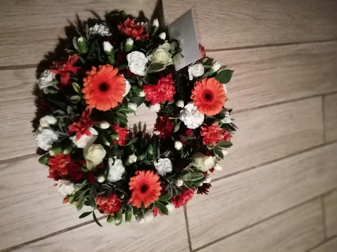 Orange and white Wreath