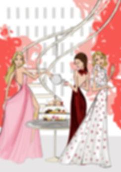 Weston High Tea Sarah Darby luxury hotel fashion illustration