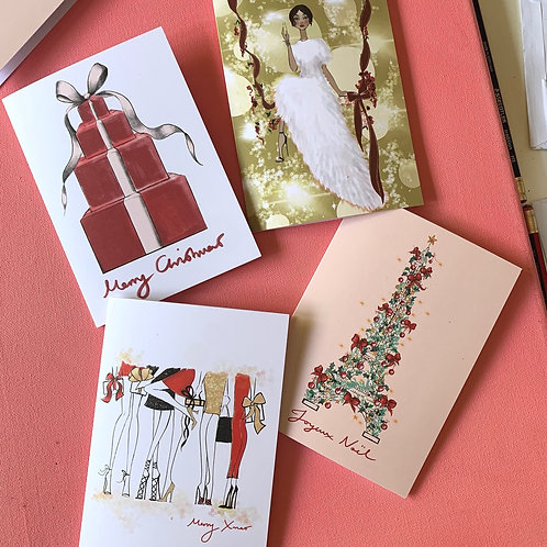ONE OF EACH - CHRISTMAS CARDS x 4