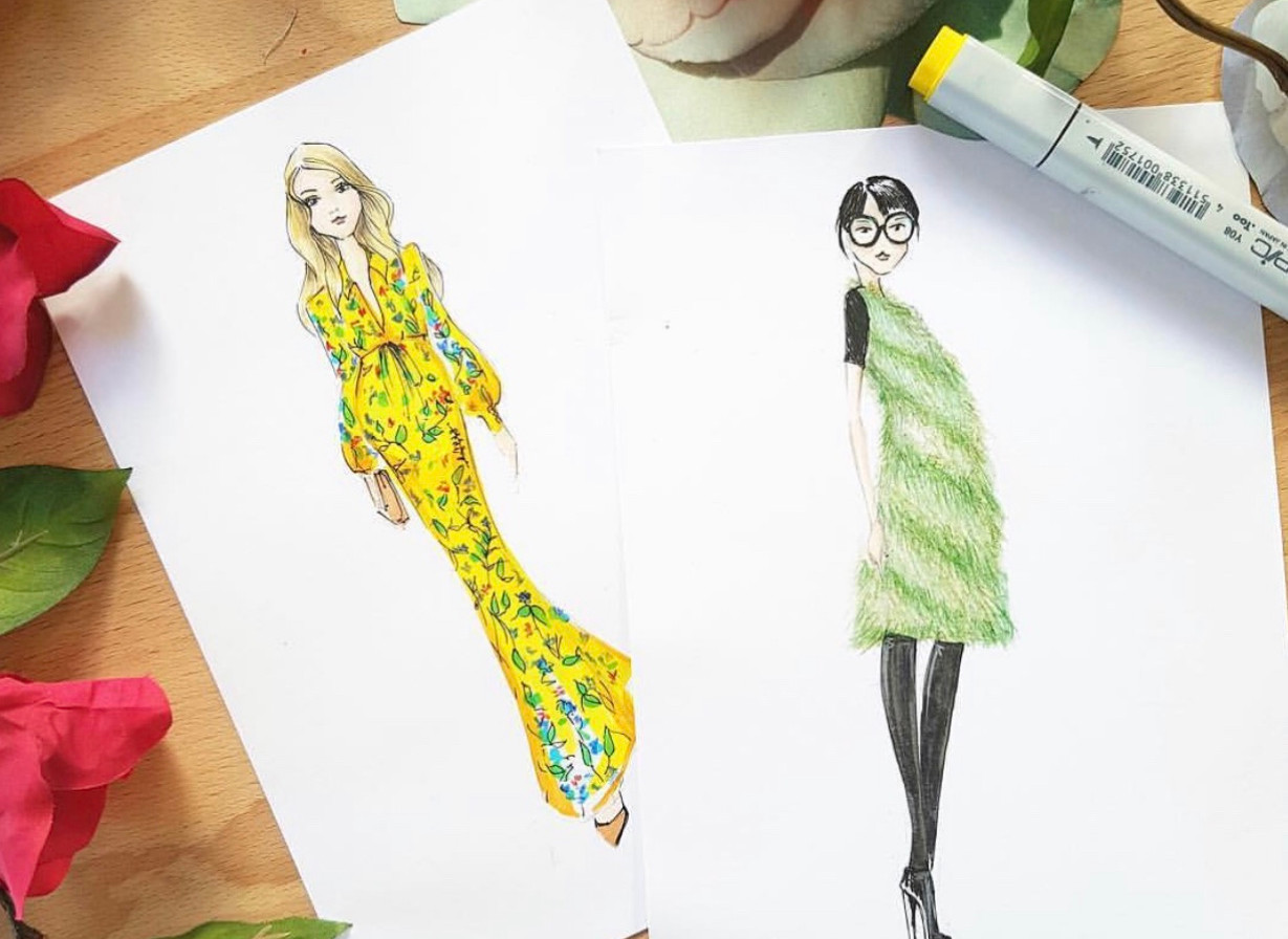 Sarah Darby fashion illustration live sketching