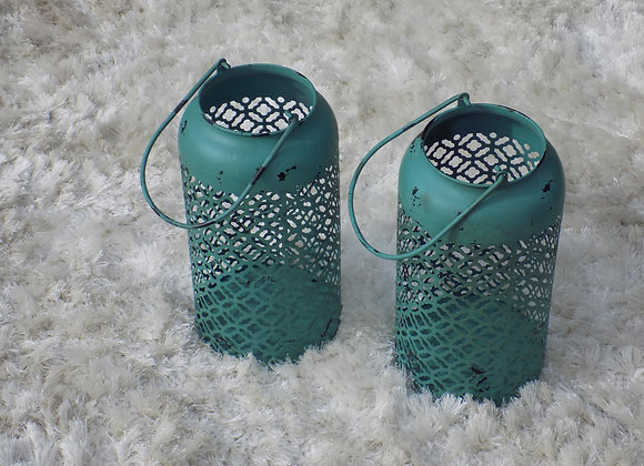 Teal Candle holders set of 2