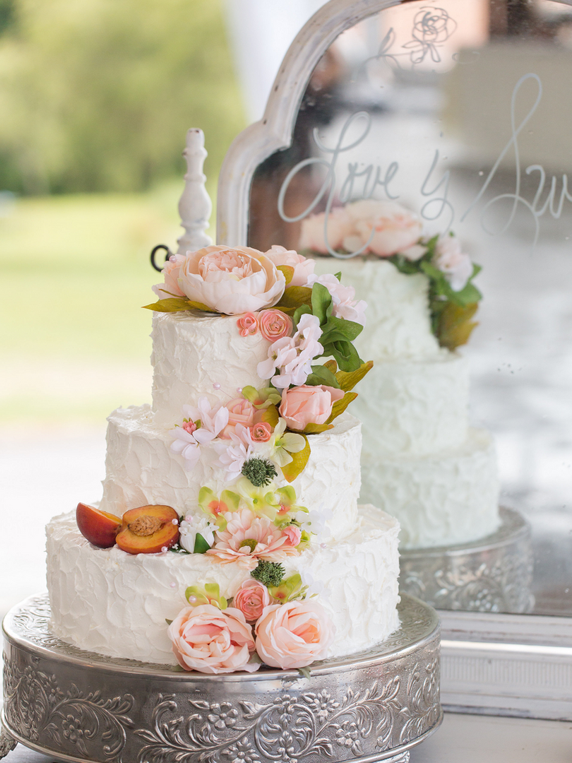 Peach Summer Wedding Inspiration Cake an