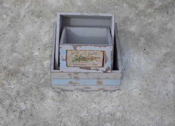 White washed boxes set of 3