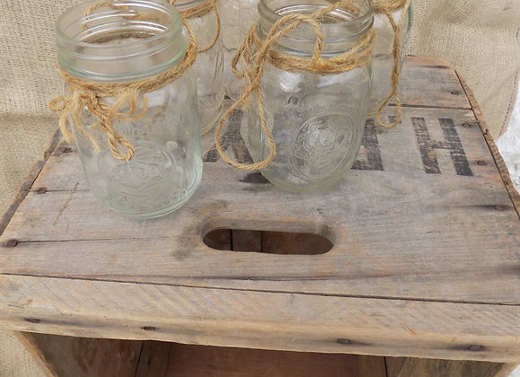 Hanging pint mason jars