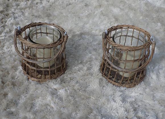 Wicker Basket/Candle Holders