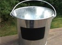 Small table top metal buckets with chalkboard tag