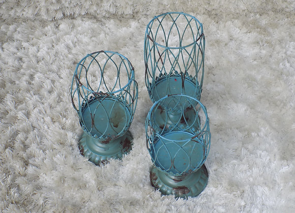 3 Teal Candle Holders Set
