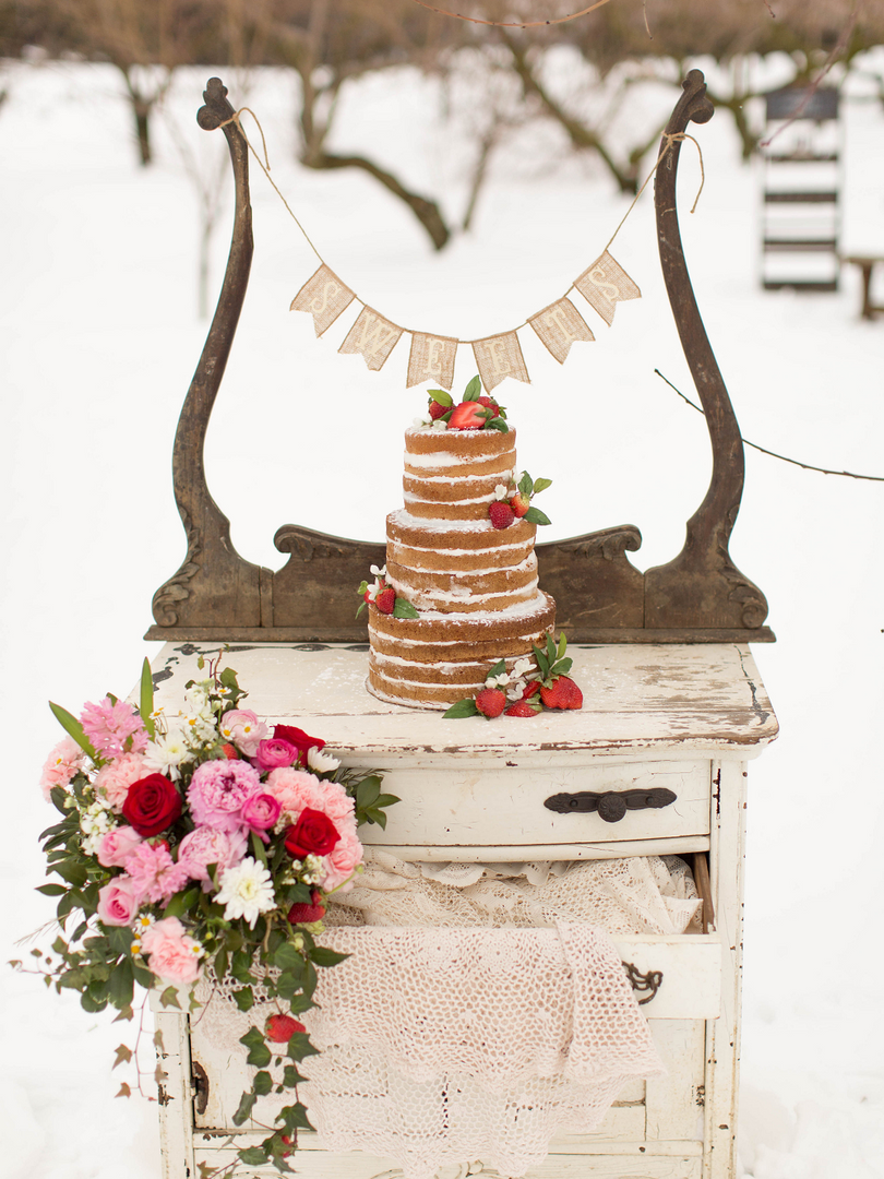 Winter Wedding Styled Shoot Vintage Dres