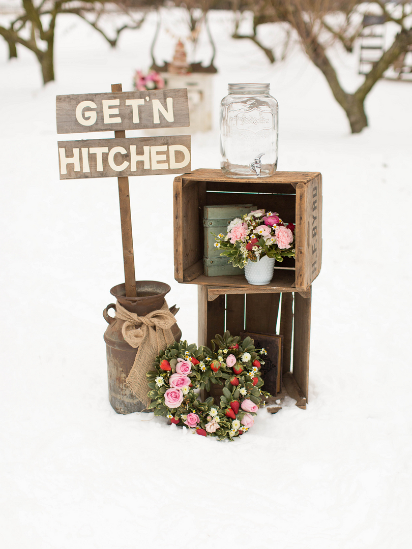 Winter Wedding Styled Shoot Wooden Crate