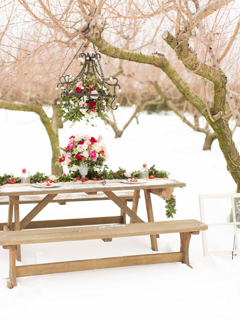 Winter Wedding Styled Shoot Picnic Table