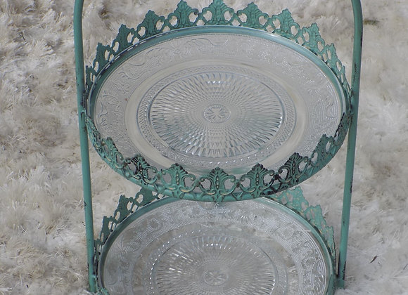 Teal double cake stand