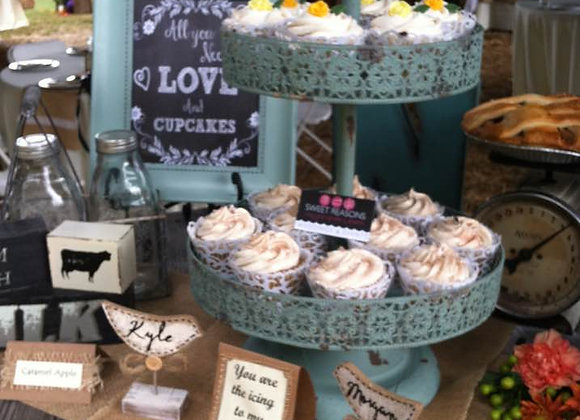 Teal 2 tier cupcake stand