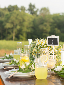 Rustic Farm Table with Wildflowers Virgi
