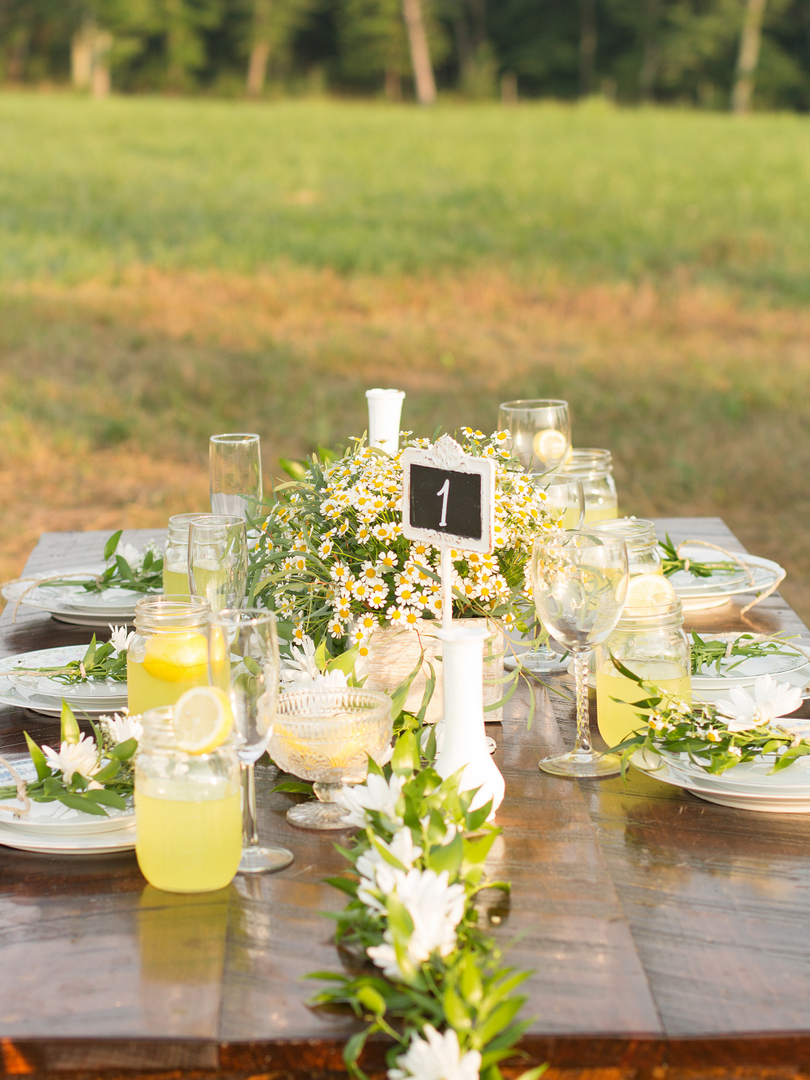 Rustic Farm Table with Wildflower Settin