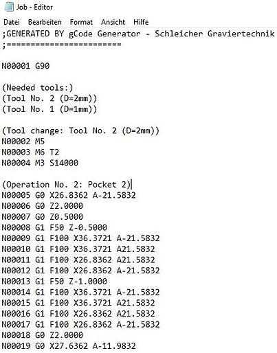 Snippet of CNC Code in gCode Generator