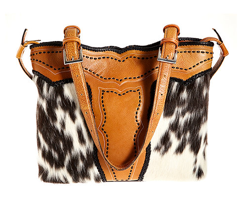 Leather and Cowhide Tote Bag