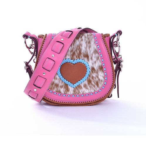 Pink Leather and Cowhide Crossbody Bag