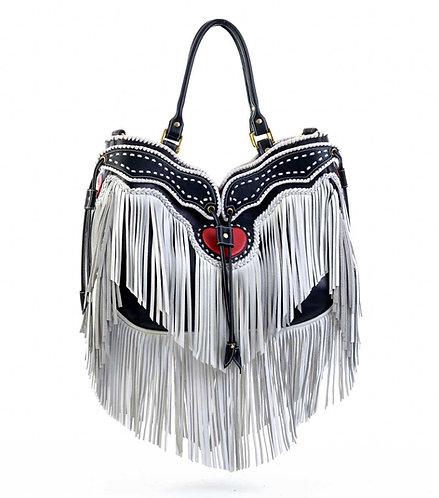 White Leather Tassel Bag