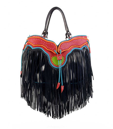 Black Leather Tassel Bag