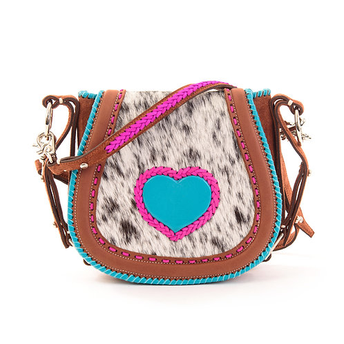 Cowhide and Blue Leather Crossbody Bag