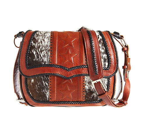 Leather and Cowhide Satchel Bag