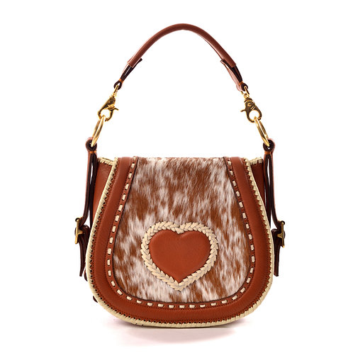 Tan Leather and Cowhide Crossbody Bag