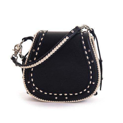 Black Leather White Stitch