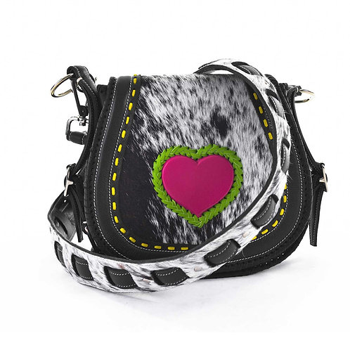Black and Pink Leather Crossbody Bag