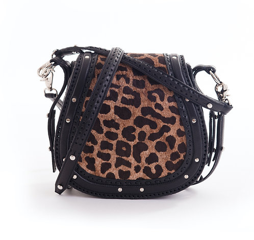 Black Leopard Print Crossbody Bag