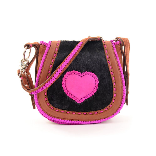 Brown and Pink Leather Crossbody Bag