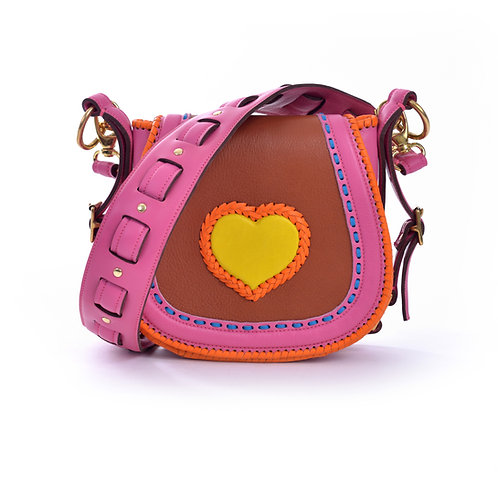 Pink Brown and Yellow Heart