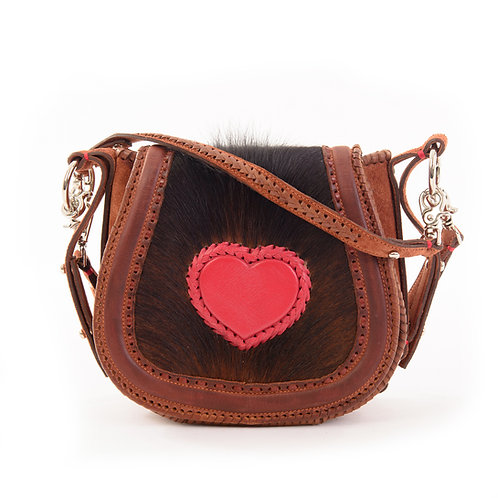 Dark and Red Leather Crossbody Bag