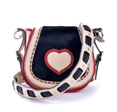 Ivory Leather and Cowhide Crossbody Bag