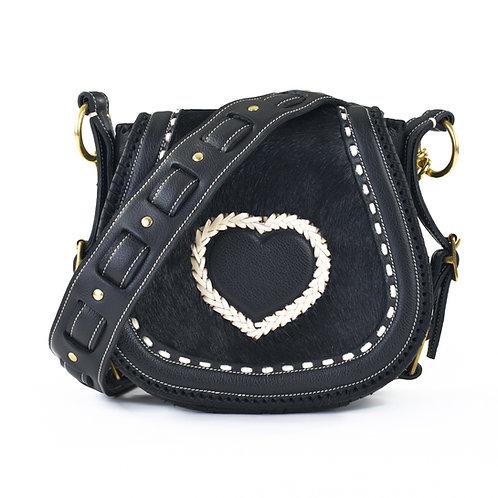 Black Cowhide Crossbody Bag