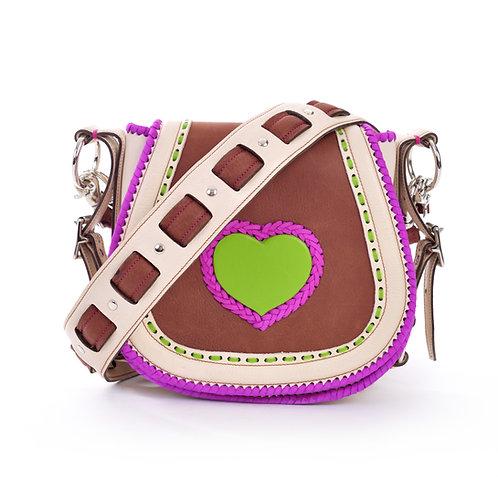 Ivory and Purple Crossbody Bag