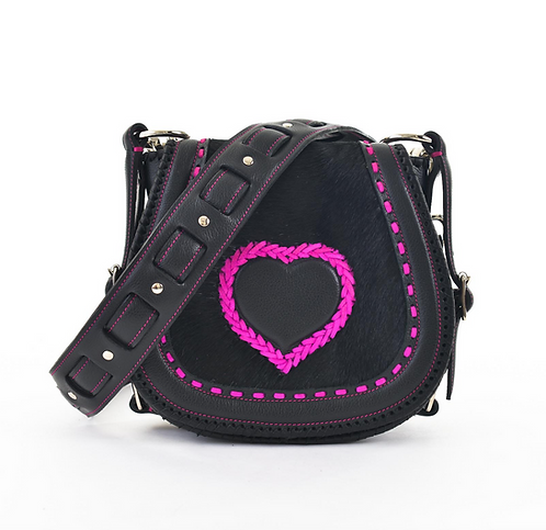 Black Leather and Cowhide Crossbody Bag