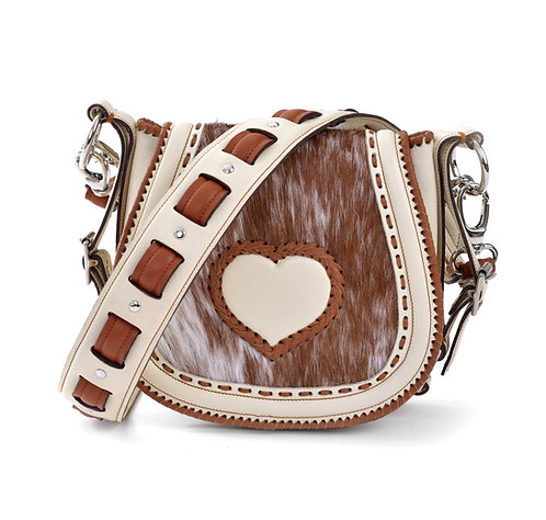 Ivory and Brown Leather Crossbody Bag