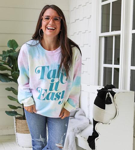Take It Easy Ribbed Sweatshirt