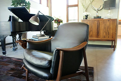 Vintage Scandinavian chair & rosewood bar by HIlls & Grant Interior Design in Lafayette, Ca.