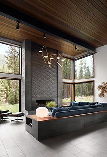 Modern Mountain Custom Martis Camp Home with Award-winning Interior Design that has a Grand Fireplace, custom upholstery, vintage and modern art, RBW light, Ann Sacks tile.