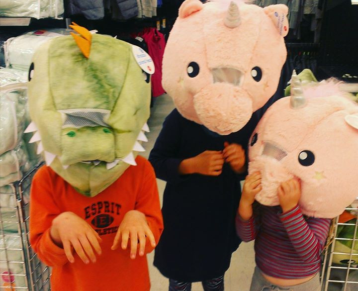 Kids dressing up on a Shopping expedition.