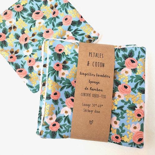 Lingettes lavables tissu Rifle Paper & Co Rosa Metallic
