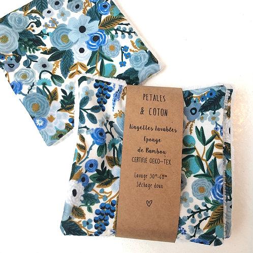 Lingettes lavables tissu Rifle Paper Garden Party Bleu