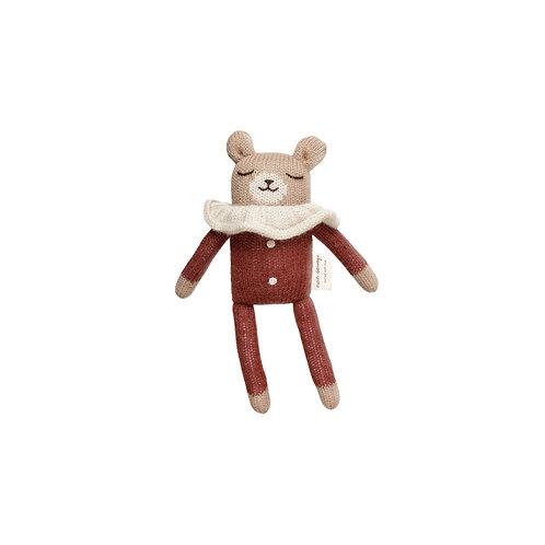 Main Sauvage Doudou ourson pyjama sienne