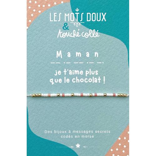 Bracelet code morse : Maman je t'aime plus que le chocolat !