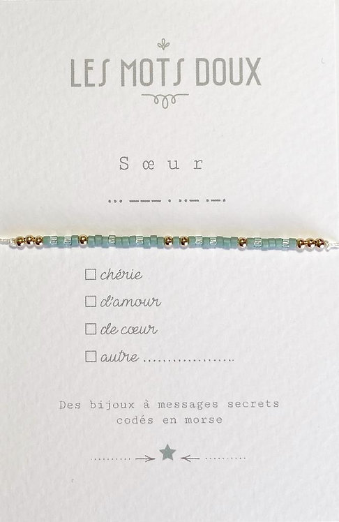 Bracelet code morse Soeur Les Mots Doux