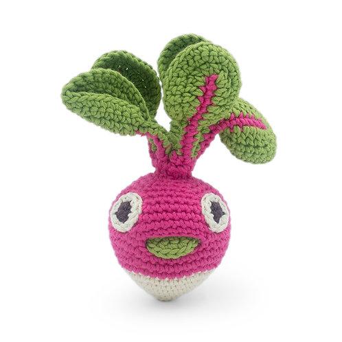 Mini radis hochet en crochet Bio